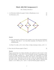 MATH 423 Fall 2014 Assignment 6 Solutions