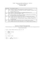 Exam A Review on Engineering Differential Equations