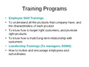 Training Programs