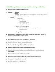 AHS 435 Survey of Clinical & Administrative Information Systems Exit Exam.docx