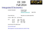 EE 330 Lect 1 Fall 2014