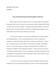 SOC 110 Research methods (Gilmore) literature review proposal essay