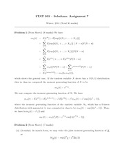 STATS 353 HOMEWORK 7 SOLUTIONS