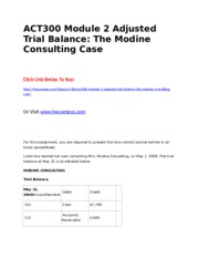ACT300 Module 2 Adjusted Trial Balance  The Modine Consulting Case