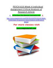 PSYCH 610 Week 4 Individual Assignment Critical Analysis of Research Article.doc