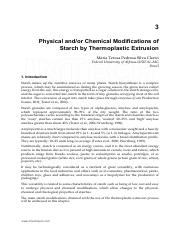 Physical and(or) Chemical Modifications of Starch