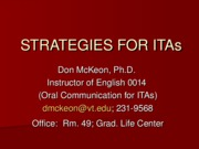 Strategies for ITAs
