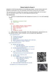 Study Guide for Exam 1