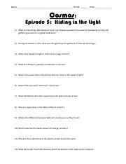 Joshua Zion Hunter - Cosmos Episode 5 Worksheet - Cosmos ...