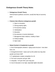 Endogenous Growth Theory Notes