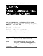Lab Worksheet Lesson 15 Configuring Server Authentication