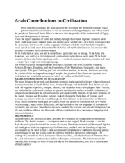 Arab Contributions to Civilization