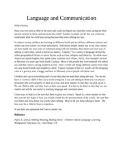 week 1 discussion 1 Language knowledge article