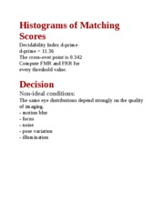 Histograms of Matching Scores