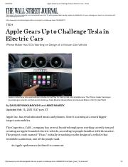 Apple Gears Up to Challenge Tesla in Electric Cars - WSJ.pdf