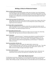 Cirtical Analysis Essay Guidelines