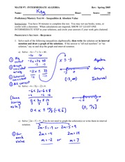 Test Solution on Solving inequalities and absolute value equations