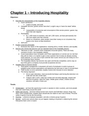 Study Guide - Part 1 - Chapter 1 - Introducing Hospitality