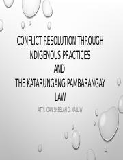 Conflict resolution through indigenous practices