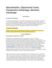 Specialization, Opportunity Costs, Comparative Advantage, Absolute Advantage Econ 220.docx