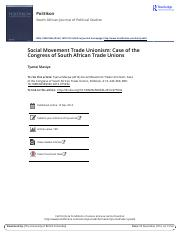 Social Movement Trade Unionism Case of the Congress of South African Trade Unions