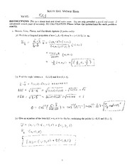 Midterm Exam Solution on Vector Calculus