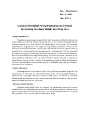 metabical pricing packaging and demand forecasting recommendations for a new weight loss drug