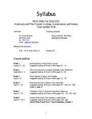 Americans and Their Forests Syllabus Fall 2014