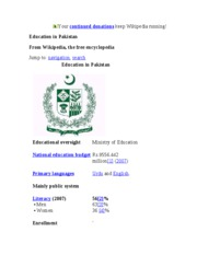 Education in Pakistan - Wikipedia, the free encyclopedia