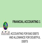 FA 1 Chapter 6 Bad Debts & Allowance for DD.ppt