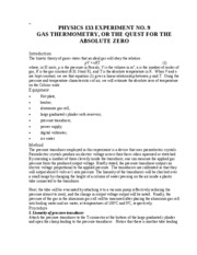 Lab 9 - Gas Thermometry (The Quest for the Absolute Zero)