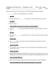 GENERAL PSYCHOLOGY   CHAPTER 3 TEST,FALL, Stems.docx