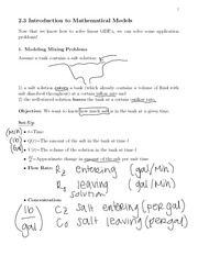 Introduction to Mathematical Models