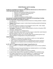 Globalization and Accounting 2 Notes