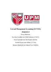 management accounting 2 group assignment Assignment 1st semester : management accounting 2 the assignment will contribute 20% towards the final examination mark, and the other 80%.