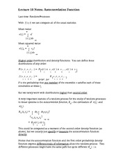 Lecture 10 Notes Autocorrelation Function