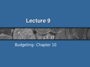 Lecture 9 - Budgeting