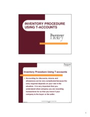 Inventory T-accounts