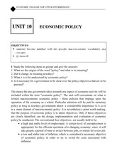 Economic policy lecture note