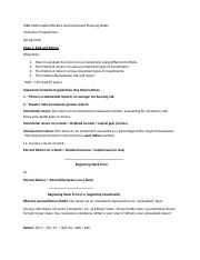 MBA 6364 Capital Markets and Investment Planning Notes