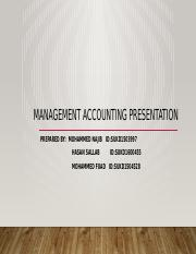 Management accounting presentation