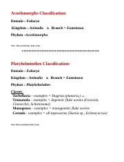 Chpt 8 Classification  Phyla Acoelomorpha and Platyhelminthes 2013