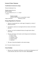 Lecture 6 Notes Neutrons