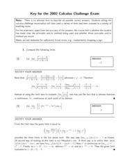 AP Calculus 12 Challenge Exam 2002 Solutions