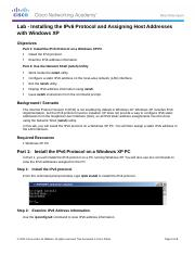 0.0.0.2 Lab - Installing the IPv6 Protocol with Windows XP