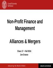 NPFM - Class 17 - Alliances and Mergers - Fall 2016.pptx