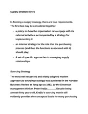 Supply Strategy Notes
