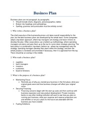 Homework - Business Plan
