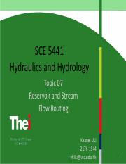 Topic 07-Reservoir and Stream Flow Routing