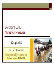 ChP 3 Numerical Measures